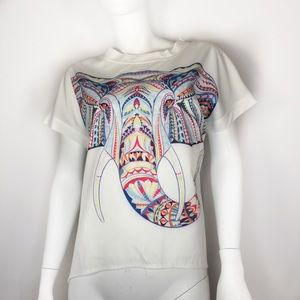 Multicolored Size Large  Elephant Trunk White  Top